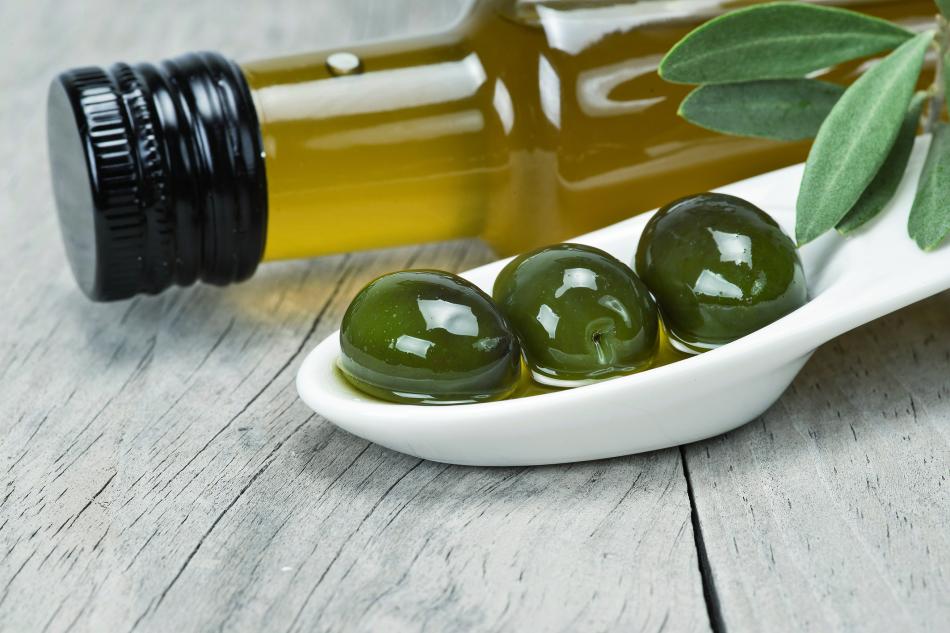 Virgin olive oil and green olives