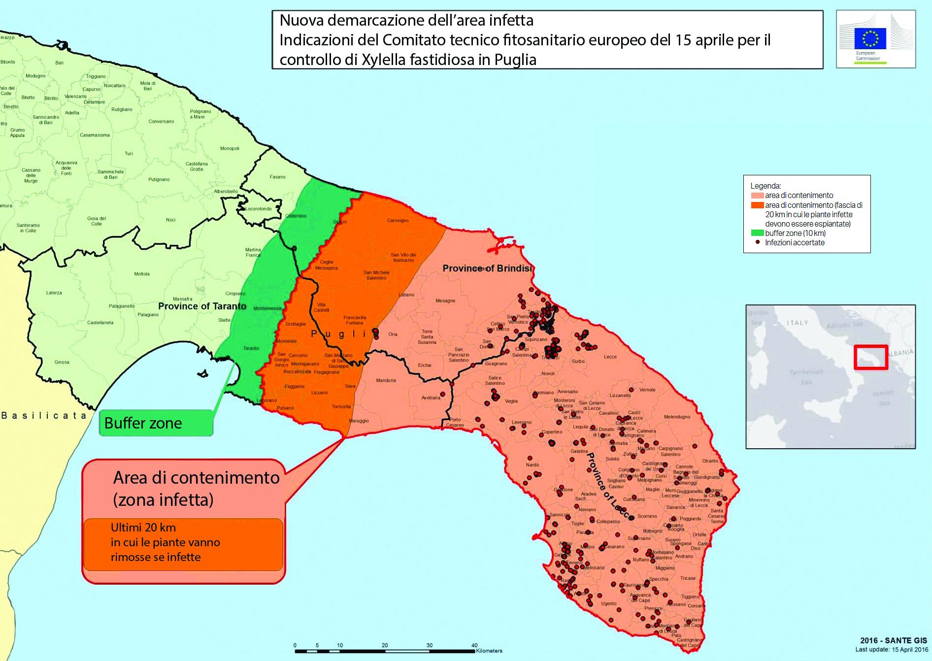 Cartina Puglia Zona Lecce.La Nuova Mappa Ue Sposta La Xylella Piu A Nord
