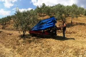ombrello intercettatore per la raccolta delle olive