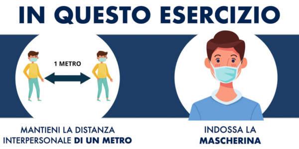 indicazioni distanze e mascherina